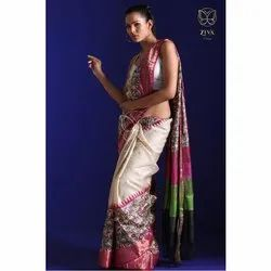 Exquisite Hand Woven and Hand Block Printed Pink Zari Border Handwoven Tussar Silk Saree, 5.5 metres