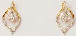 cluster diamond studded petal shape teardrop earring