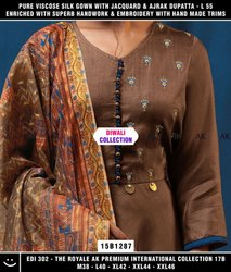 Embroidered Women Long Gown with Work Dupatta