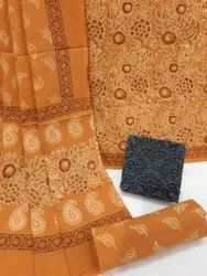 Natural Bagru Hand Block Printed Cotton Dress Material With Cotton Dupatta.