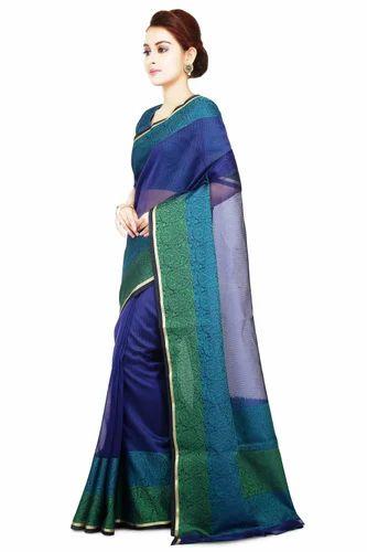 ba35a1b53ecfd1 Supernet Sarees - La'ethnic Green Super Net Saree Manufacturer from Varanasi
