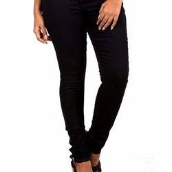 Black Skinny Fit Stretch Ladies Designer Jeans, Waist Size: 30