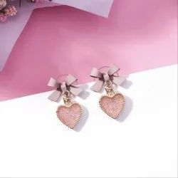 Pink Heart Earrings For Girls