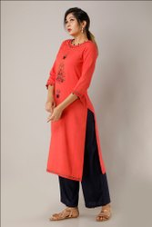 Rayon Hand Embroidered Coral Color Kurti With Palazzo