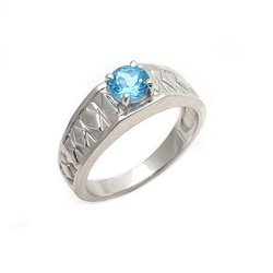 High Class Blue Topaz Natural Gift Mens Ring 925 Sterling Silver Fashion Ring