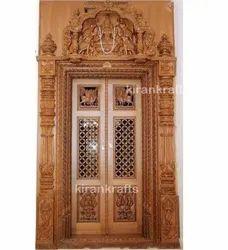 Brown Wooden Pooja Room Doors, For Home