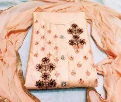 Cotton Pink Designer Dress Materials