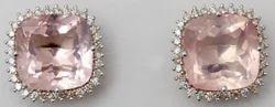 classy diamond studded cushion shaped rose quartz earring tops