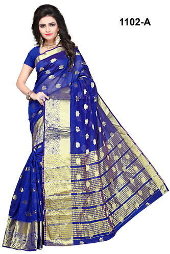 Blue Printed Banarasi Silk Weaving Saree