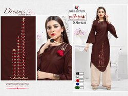 Party Wear Embroidery Chaderi Silk Kurti With Palazzo Set