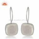 Cushion Shape Crystal Quartz Gemstone 925 Silver Hook Earring Jewelry