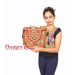 Oxygen Embroidery Ladies Designer Handmade Bag, Size: 10-12 Inch