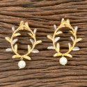Brass Grey & Gold Designer Gold Plated Classic Earring 406653