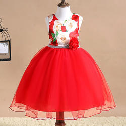 Adorable Red Floral Design Applique Dress