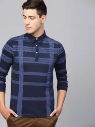Cotton Collar Neck Blue Check T Shirt, Size: S to XXL