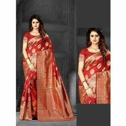 Bridal Wear Printed Ladies Banarasi Cotton Sarees, 6.5 m