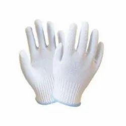 White MNK30 Nylon Knitted Gloves