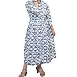 Cotton Printed Ladies Western Wear Dress