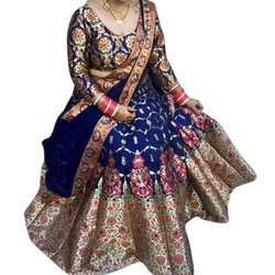 Printed Unstitched Ladies Blue Bridal Banarasi Silk Lehenga