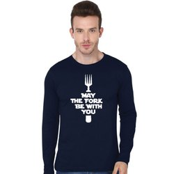 Cotton Printed May The Fork - Full Sleeve T Shirt