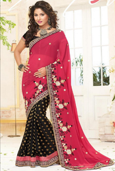 Black And Pink Raw Silk Annycreation Women Saree , With Blouse Piece
