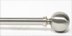 52-144 Inch Ball Satin Silver Extendable Curtain Rod