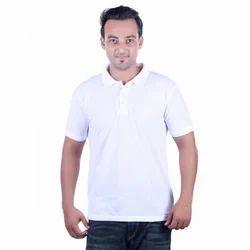 Trendy Mens White Collar T-Shirt