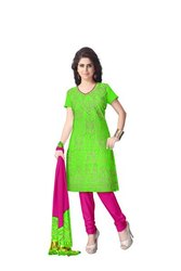 Parrot Green And Pink Color Fancy Design Gaji Silk Bandhani Suit