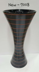 Black Damru Shape Pedestal Wash Basin
