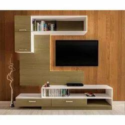 Plywood Wall Mounted TV Wall Unit