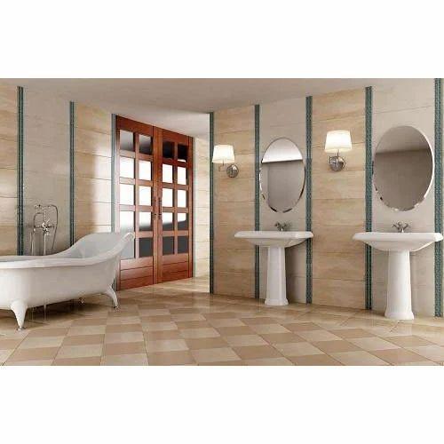 Kajaria Brown Base Bathroom Vitrified Tile, Thickness: 5 ...