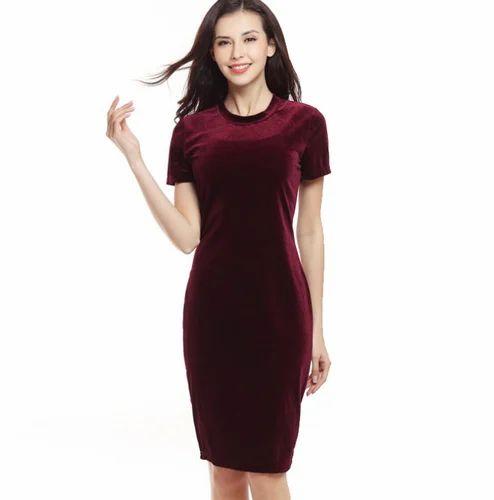 dd17535e8a50 Swan Velvet Red Wine Color Plain Midi Dress For Women