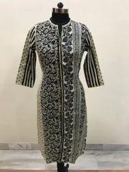 Lavanya Cotton slub black beige multi print design kurti
