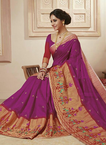 5d7214bb22b95d Magenta Color Rajguru Raw Silk Embroidery Big Border Saree