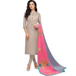 Rajnandini Beige Chanderi Silk Embroidered Semi-Stitched Dress Material With Printed Dupatta