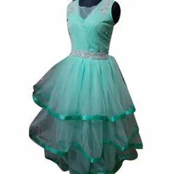Sleeveless Ladies Party Wear Net Gown, Size: S-xxl