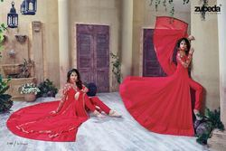 Stylish Red Rose Color Georgette Anarkali Suit