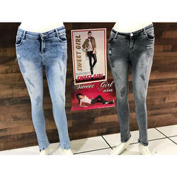Ladies Denim Faded Jeans, Size: 30