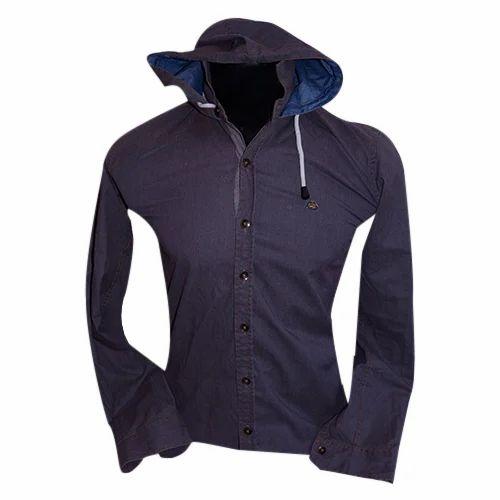 35bac94852f1ee Dark Grey Plain Mens Denim Hooded Shirt