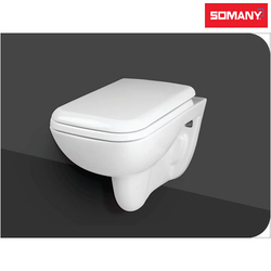 White Closed Front Somany Wall Hung WC - Kape - (Without Seat Cover)