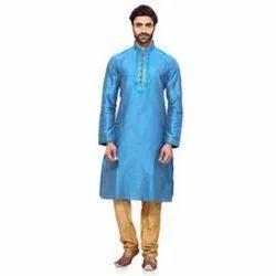 casual Cotton Pintex Blue Mens Kurta, Size/Dimension: Large