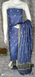 Katan Silk Dress Material With Kalamkari Print Dupattas