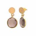 925 Sterling Silver Smoky Topaz Best Model Gemstone Fashionable Small Earring
