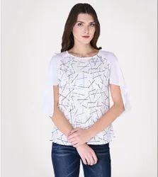 Crepe Half Sleeves Women Casual Printed Top
