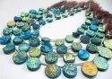 Natural Titanium Coated Agate Blue Druzy Round Shape Briolette Beads