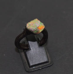 Raw Opal Gemstone  Electroformed Stackable High Fire Ring