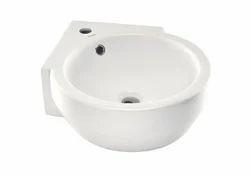 Parryware White Corner Wash Basin, Shape: Bowl