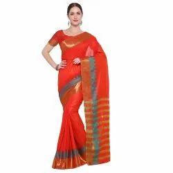 Orange Colored Maheshwari Kota Silk Lining Pattern Casual Saree