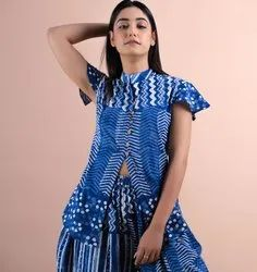 Indian Styled Top And Loose Trousers Indigo Women Dress