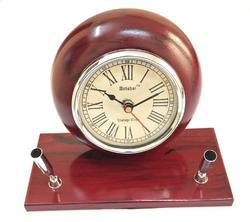 Cherry Wooden Table Clock with Pen Stand